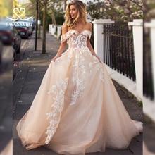 Swanskirt querida flores 3d vestido de casamento 2020 fora do ombro apliques a linha princesa noiva robe de mariee i166