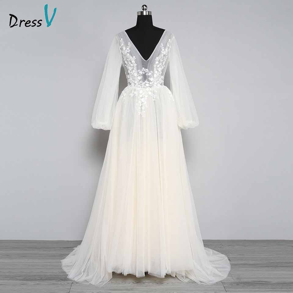 Simple Elegant Long Sleeve V Neck A Line Lace Top Satin: Dressv Elegant A Line V Neck Long Sleeves Wedding Dress