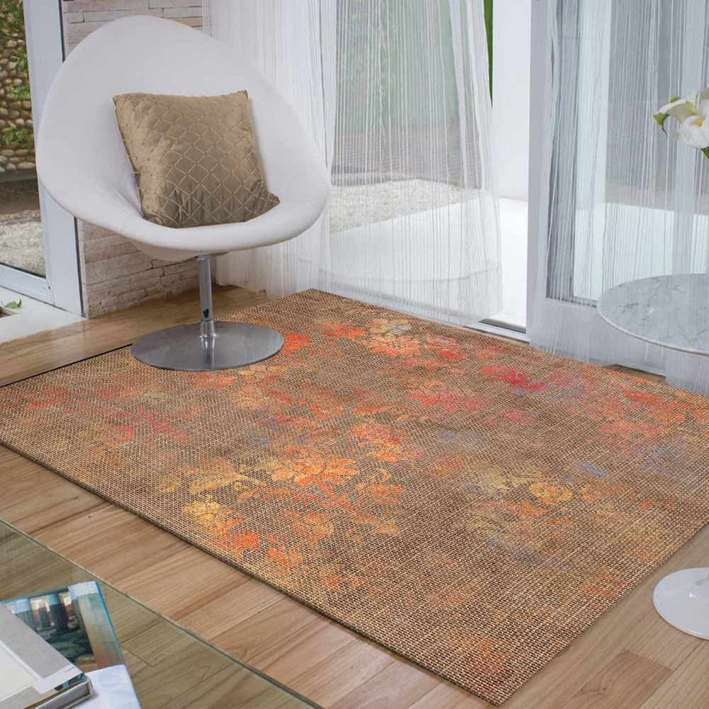 Else Brown Red Yellow Vintage Floral Flowers 3d Print Non Slip Microfiber Living Room Decorative Modern Washable Area Rug Mat