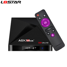 L8STAR A5X MAX Android 9.0 4 GB 32 GB TV BOX RK3328 4 K BT 4.1 USB 3.0 2.4G WiFi 100 M Lan lecteur multimédia intelligent HD2.0 OTT TV BOX