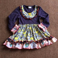 Baby Girl Dress Dark Blue With Big Floral Print Bib With Button Long Sleeve Have Age
