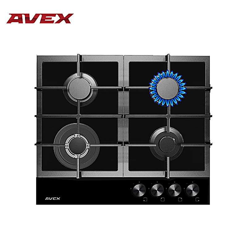 Built in Hob gas on glass with cast iron grilles AVEX HM 6044 B with FFD