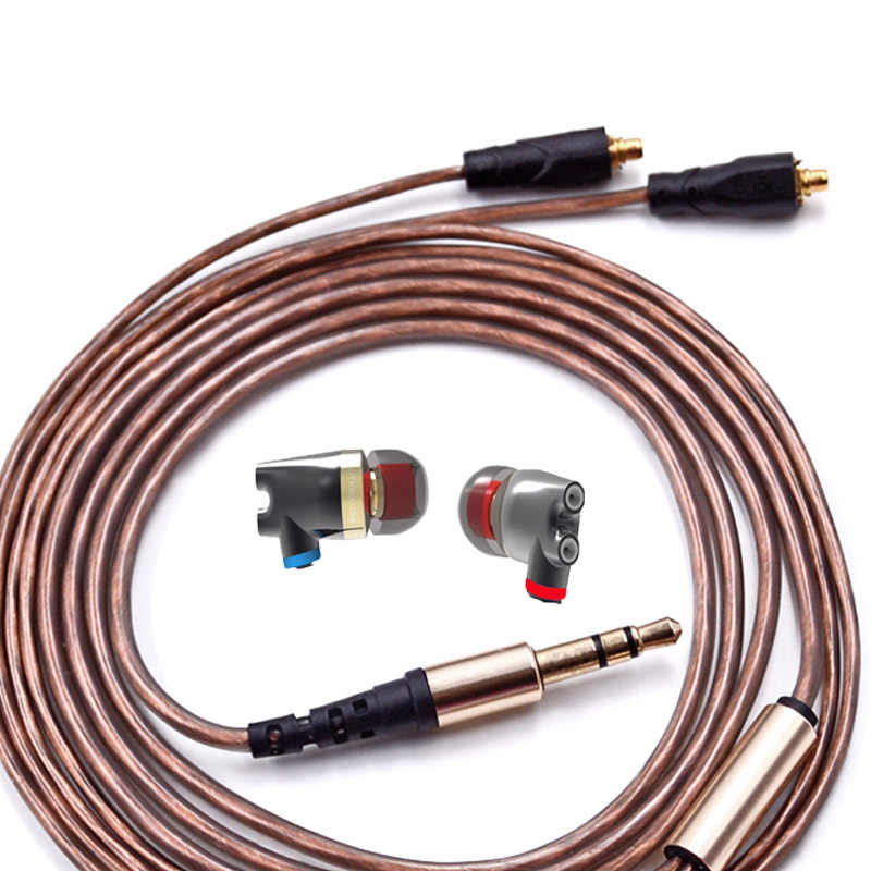 Miedzi przewód słuchawek mmcx kabel z mikrofonem dla shure SE425 SE215 SE535 se846 słuchawki zestaw słuchawkowy uaktualnić Audio senfer XBA PT15 DT6