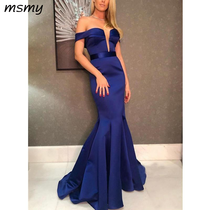 Elegant Off The Shoulder Royal Blue Mermaid Evening Dresses Sleeveless Deep V Neck Prom Dress Cheap Zipper Floor Length