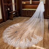 3 Meter Ivory Bridal Veils Cathedral Wedding Veils 2018 Appliques Lace Two Layer Tulle Long Bridal Veil Long Wedding Accessories