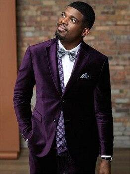 Latest Coat Pant Designs Purple Velvet Men Suit Slim Fit 2 Piece Smoking Jacket Tuxedo Custom Groom Blazer Prom Suits Terno