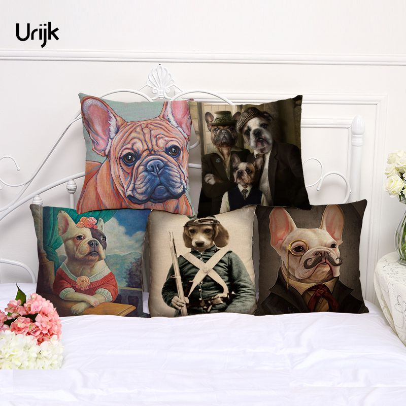 Urijk 1PC Fashion Painting Dog Cushion Cover for Children Clownish Animal Printed Throw Pillow for Bedroom Car Decorative Pillow