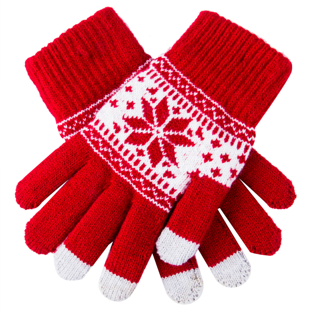Cute Christmas Warm Winter Gloves Snowflake Printed Knitted Touch Gloves Men Women Gloves Touch Screen Glove Party Supplies