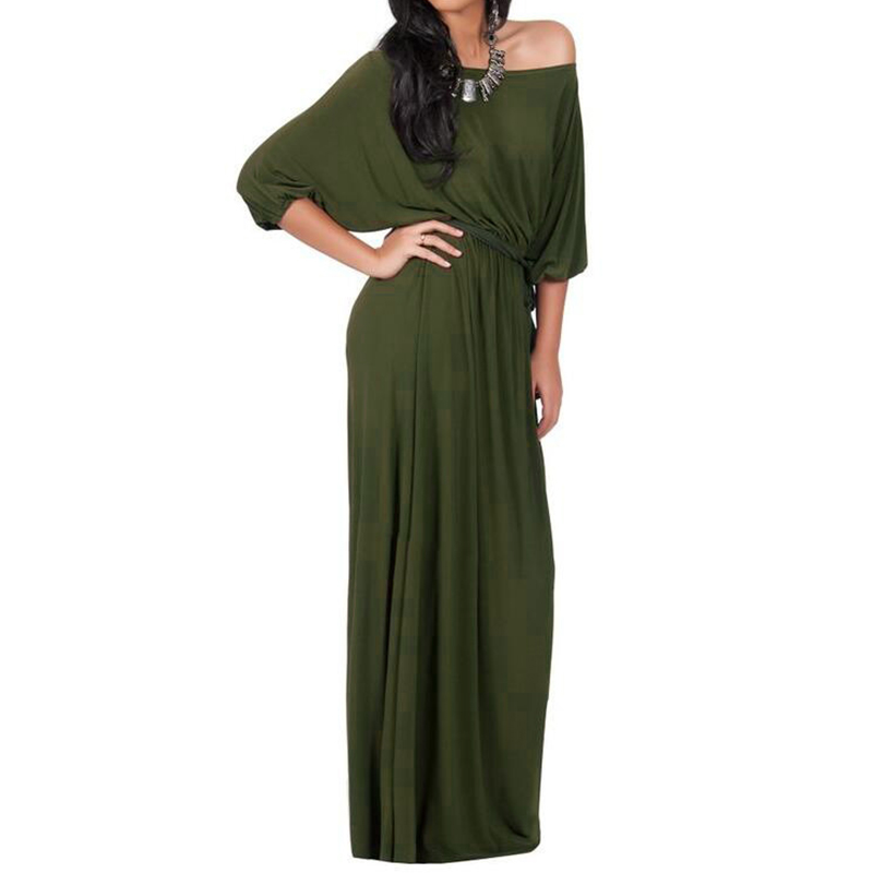 2018 New Fashion Autumn Women Dress Batwing Sleeve Maxi Long Club Party Dresses Ladies Sexy Off Shoulder Casual Loose Vestidos