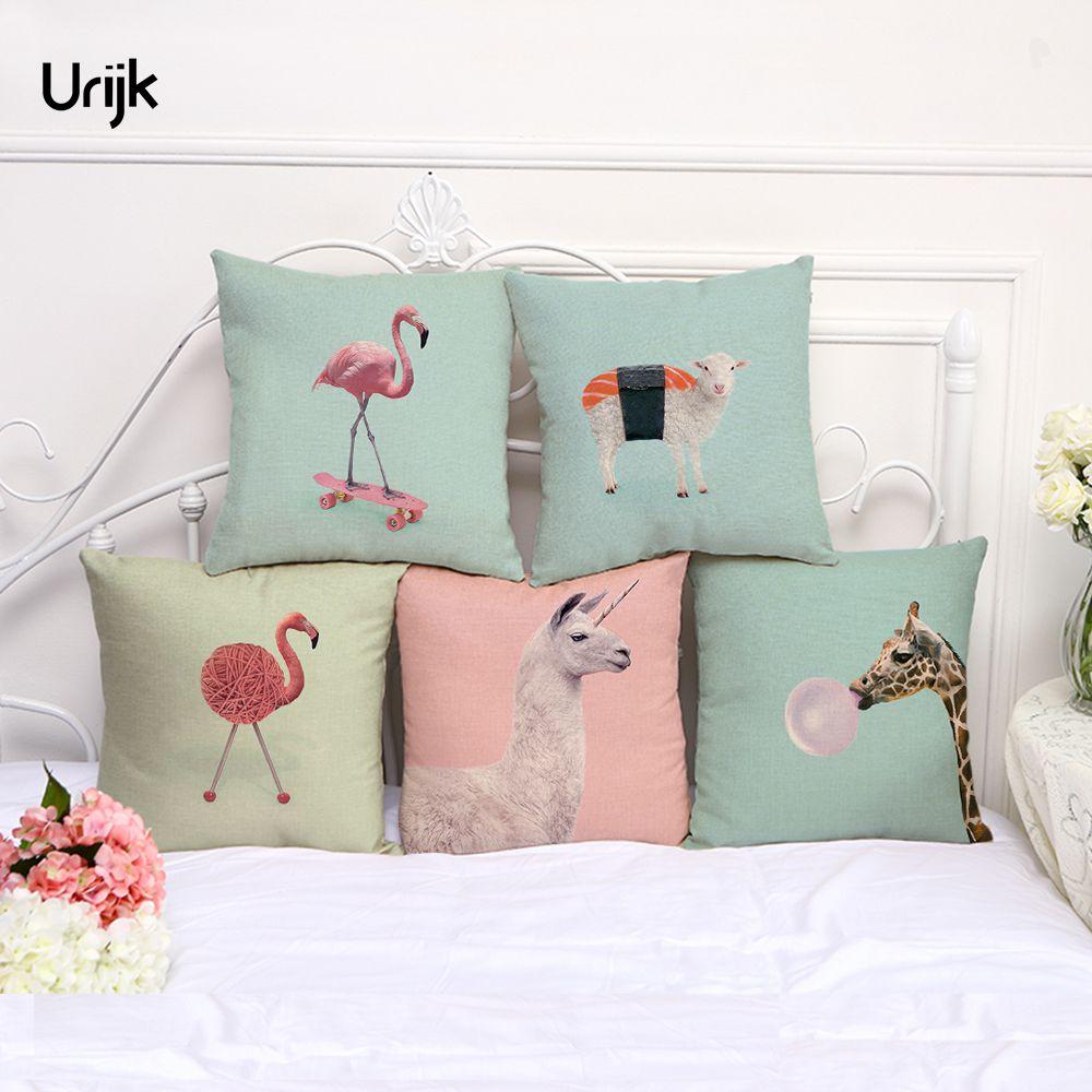 Urijk 1PC Flamingo Horse Sheep Printed Cushion Cover for Children Car Covers Fashion Decorative Pillows capa de almofada