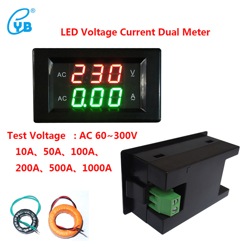 YB4835VA LED AC60~300V Voltage Current Dual Meters Digital AC Voltmeter Ammeter LED AC Digital Voltmeter Ammeter Black Cover
