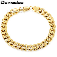 9MM 18K Gold Filled Bracelet HAMMERED CURB Curb Cuban Chain Fashion Jewelry 8 19inch GB34