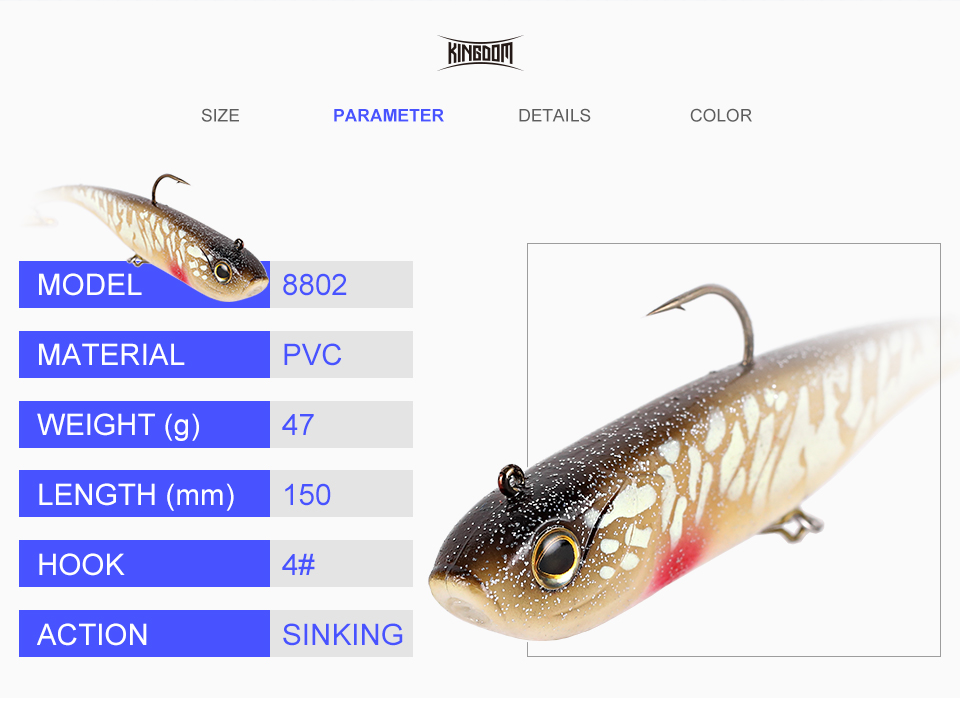 Kingdom Soft Lures Fishing Lure Soft Bait 150mm 47g Wobblers With Plastic Plate Sinking Action Artificial PVC Material