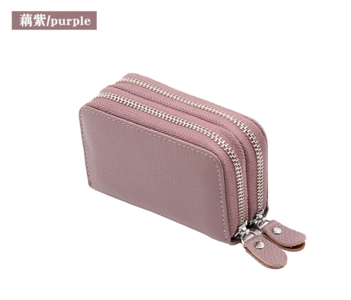 Fashion Genuine Leather Women Card Holder Double Zipper Brand Small Female ID Credit Card Case RFID Blocking Womens Mini Wallet photo review