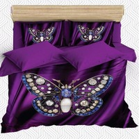 Sonst 6 Stück Lila Foor Großen Blauen Diamant Schmetterling 3D Druck Baumwolle Satin Doppel Bettbezug Bettwäsche Set Kissen Fall bett Blatt-in Bettbezug aus Heim und Garten bei