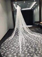 Lace Edge Luxury Cathedral Wedding Veil 3 M 3.5m Long Bridal Veil Wedding Accessories Velos De Novia Nature