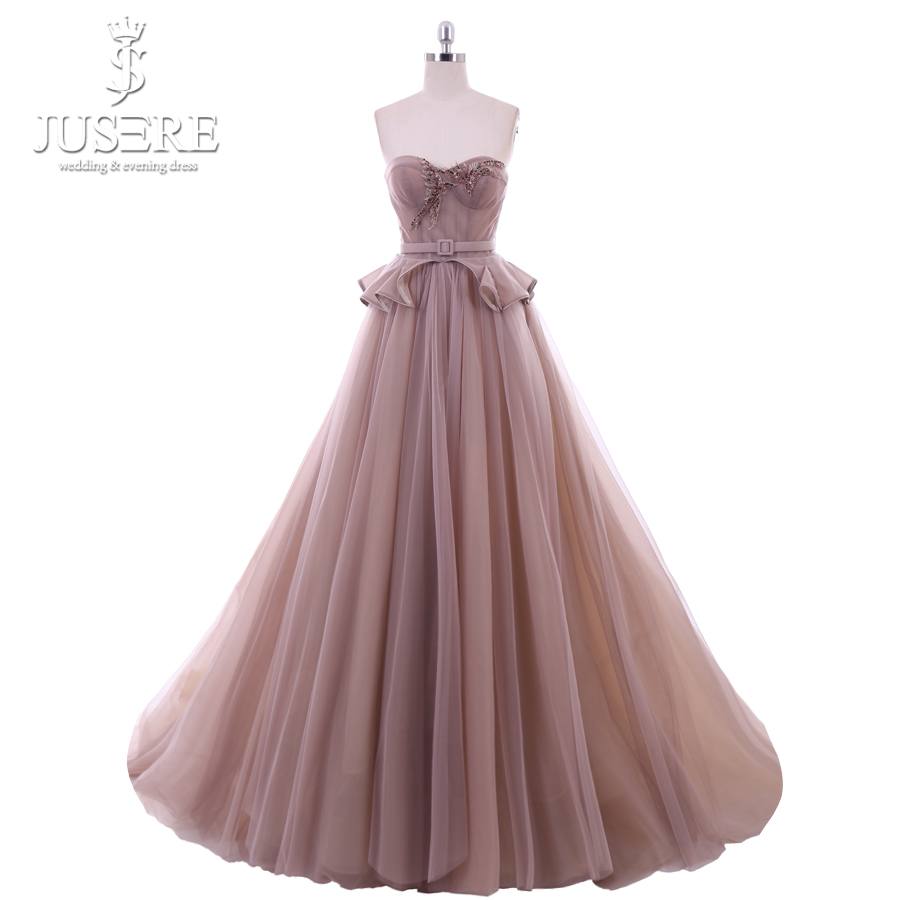 Jusere Sweetheart Neckline Lace Up Back  Long Prom Dress 2018 Beaded Evening Gowns