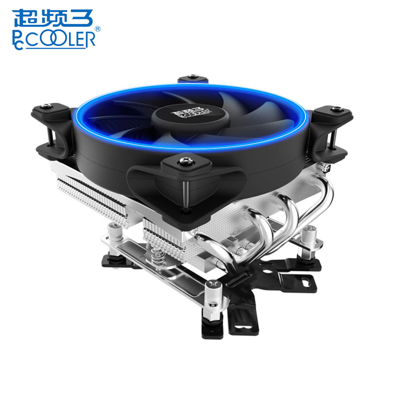 PCCOOLER 12cm Air CPU Cooler Cooling Fans 4 Heatpipes LED Smart Aura Fan for AMD AM2 for Intel LGA 775 115X 2011 Computer Case original soplay for amd all series intel lga 115x cpu cooler 4 heatpipes 4pin 9 2cm pwm fan pc computer cpu cooling radiator fan