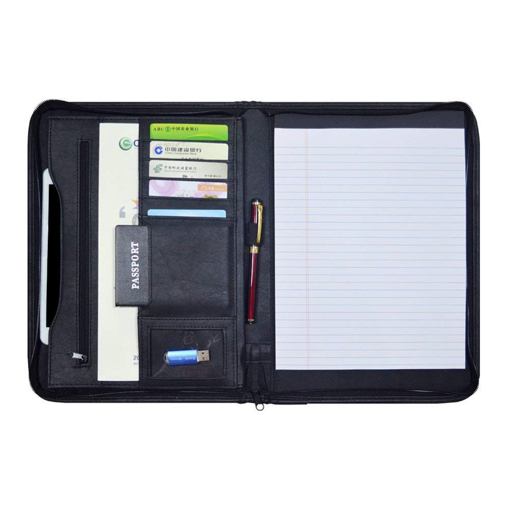 Godery Zippered Padfolio Portfolio Binder, Leather Business Portfolio, 8.5 X 11 Legal Pad, Office Supplies Organizer, Black Zipp