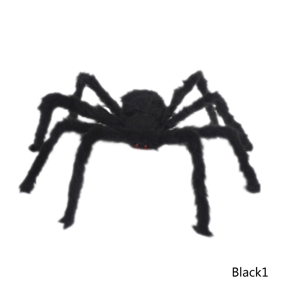 1pc Halloween Simulation Ghost Head Plush Spider Bar Ktv Home Horrific Decoration Terror Halloween Prop Black Spiders Toy Event & Party