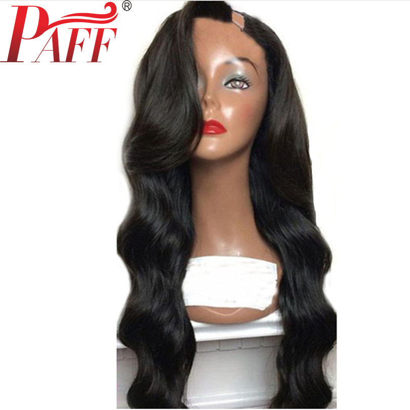 PAFF Long Body Wave U Part Wig 1x4 Opening For Women Remy Brazilian Natural Color Left
