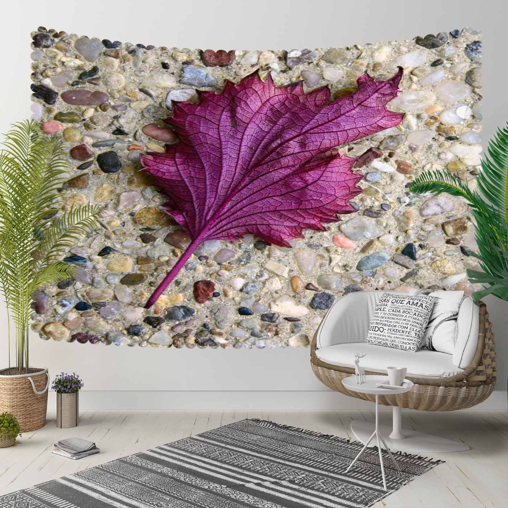 Else Brown Black Pebble Stone Wall Purple Leaf 3D Print Decorative Hippi Bohemian Wall Hanging Landscape Tapestry Wall Art