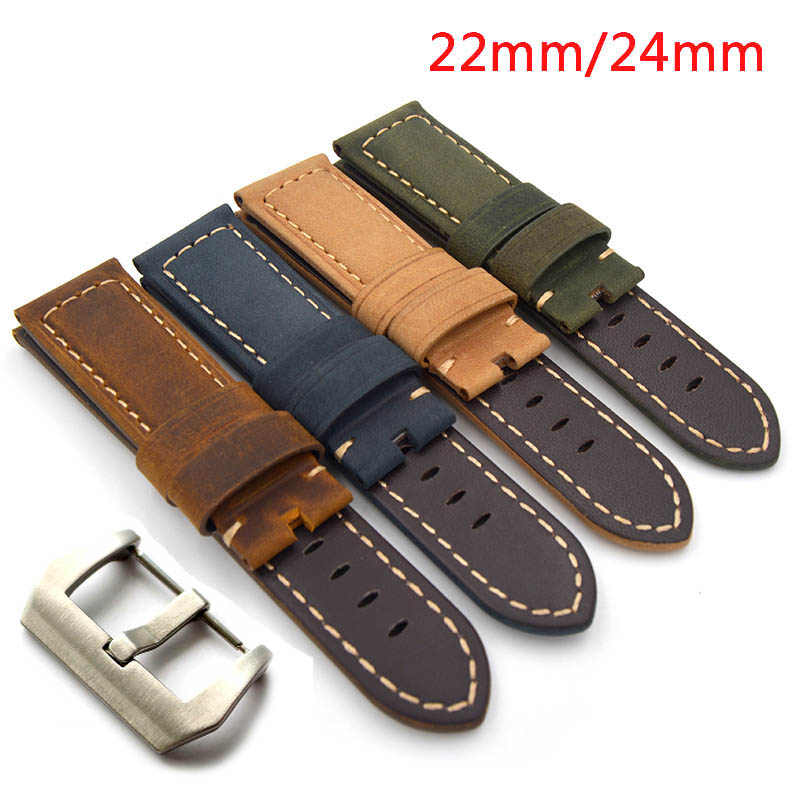 New 22mm 24mm Handmade Italian Retro Brown Green Yellow Blue Watch Band Genuine Leather Vintage Strap for PAM for panerai new matte red gray blue leather watchband 22mm 24mm 26mm retro strap handmade men s watch straps for panerai