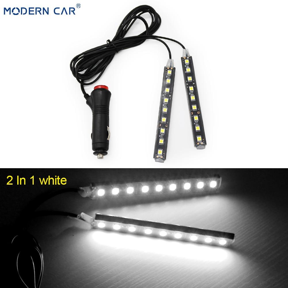 Современный автомобильный 9 светодиодный 2/4 в 1 интерьерный 5050 атмосферный свет тире пол ноги полосы света адаптер прикуривателя декоративная лампа - Испускаемый цвет: 2 In 1 White