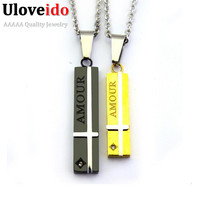 Black And Gold Plated Cross Stainless Steel Pendant Fashion Jewelry Chains Love Amour Couple Necklaces Pendants