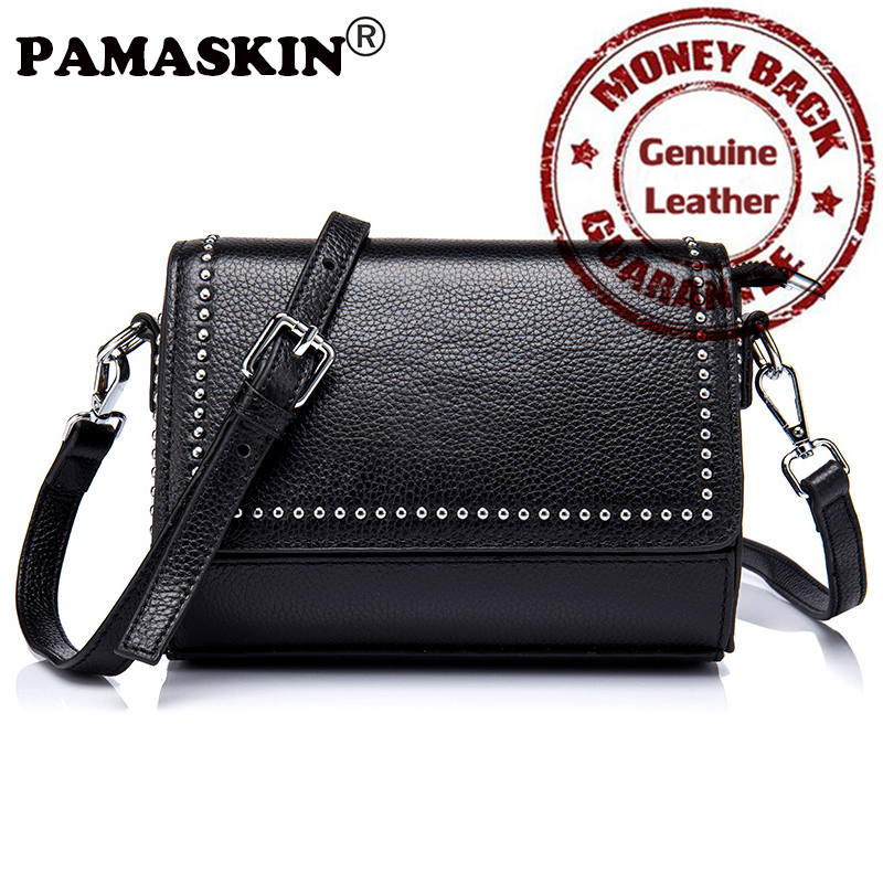 PAMASKIN Brand Premium Genuine Leather Women Single Shoulder Bags Vintage Rivet Female Messenger Bag Designer Crossbody Bags Hot genuine leather women messenger bags rivet small flap shoulder bag crossbody bags designer brand ladies female clutch hand bags