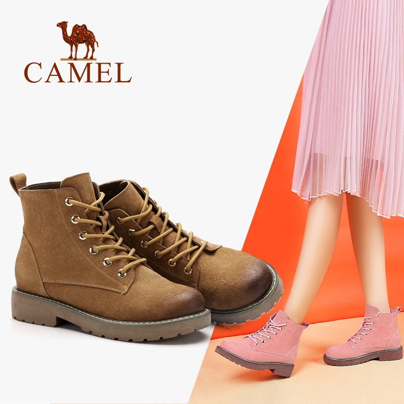 CAMEL Women Boots Shoes 2018 Winter New Flat Heel Boots England Martin Shoes Simple Wild Short Tube Women Boots