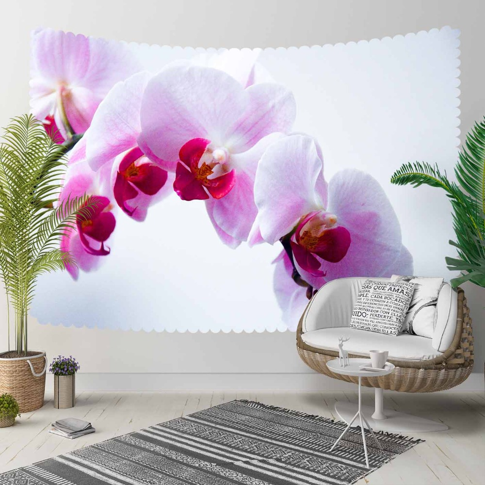 Else White Purple Orchid Flowers Floral Nature 3D Print Decorative Hippi Bohemian Wall Hanging Landscape Tapestry Wall Art