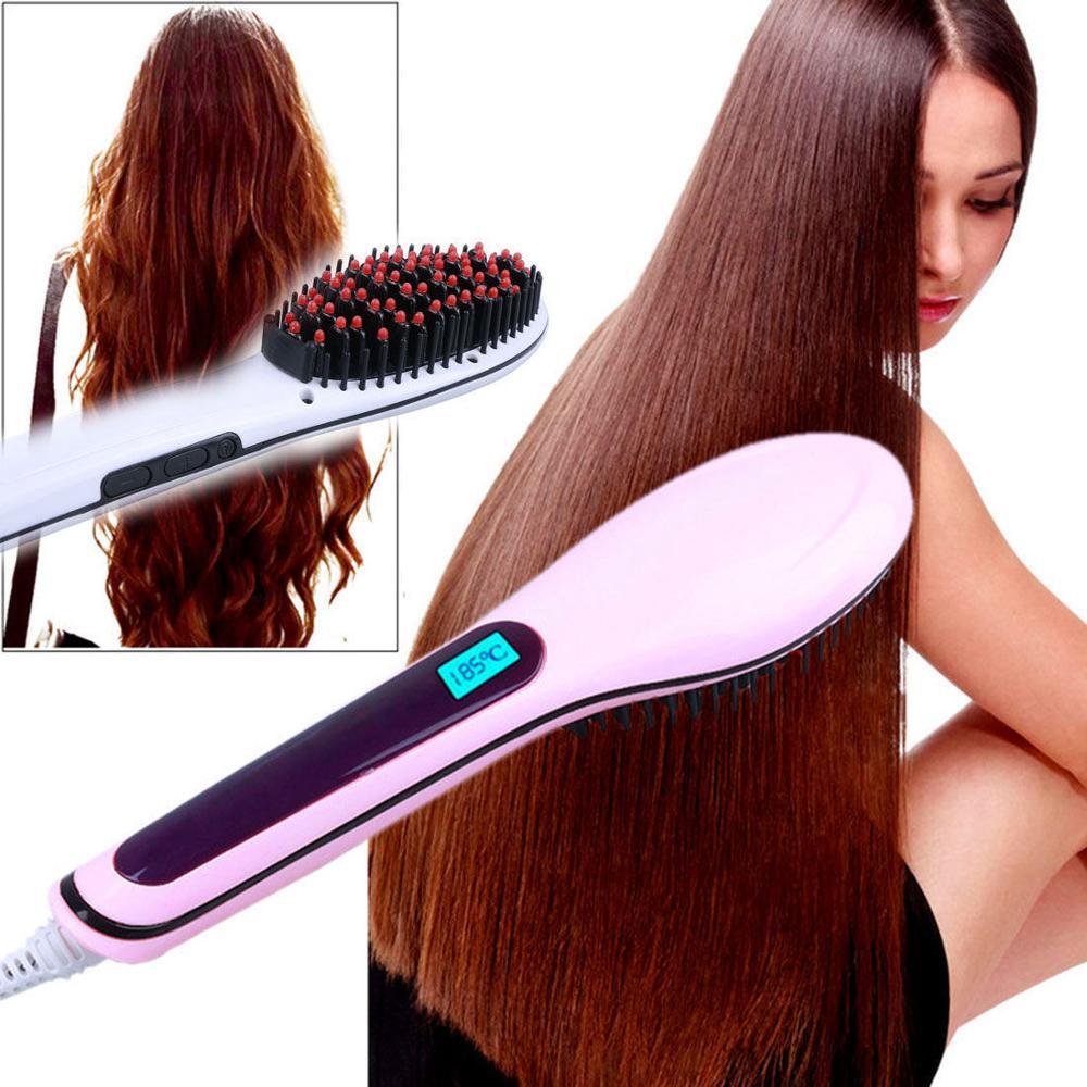 Escova alisador de cabelo elétrico ferro lcd pente de alisamento turmalina 30 w cor