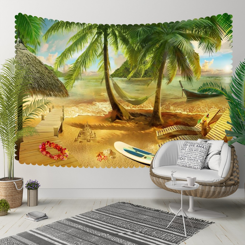 Else Tropical Brown Beach Green Palm Trees  Sea Side 3D Print Decorative Hippi Bohemian Wall Hanging Landscape Tapestry Wall Art