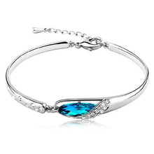 Outstanding Female Blue Crystal Bracelet Rhinestone Inlaid Bangle Crystal Jewelry Silver Plated Chain Drop Shipping Bracelet