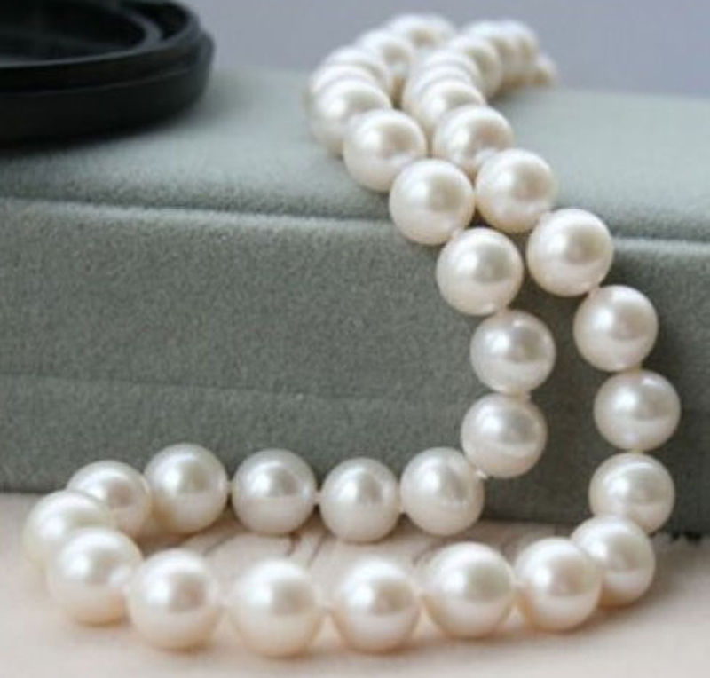 Charmming!AAAA 9-10mm Genuine Natural White Akoya Cultured Pearl Necklace 18