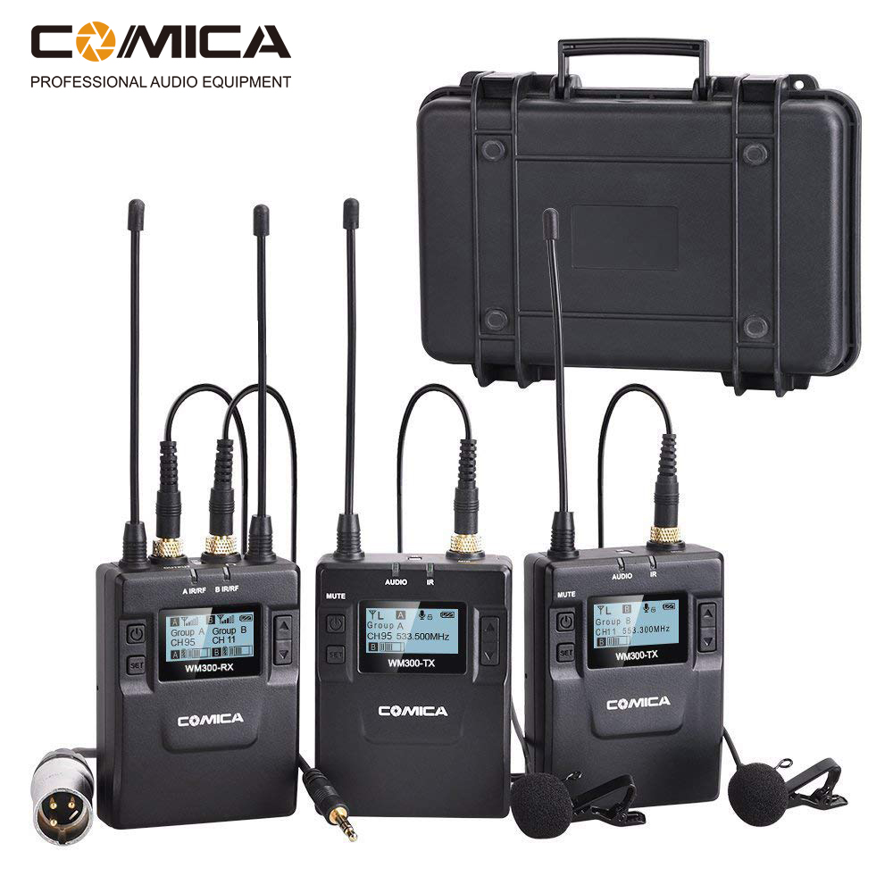 Comica 96-Channel UHF Rechargeable Wireless Lavalier Microphone System for Canon Nikon DSLR Camera,XLR Camcorders,SmartphonesComica 96-Channel UHF Rechargeable Wireless Lavalier Microphone System for Canon Nikon DSLR Camera,XLR Camcorders,Smartphones