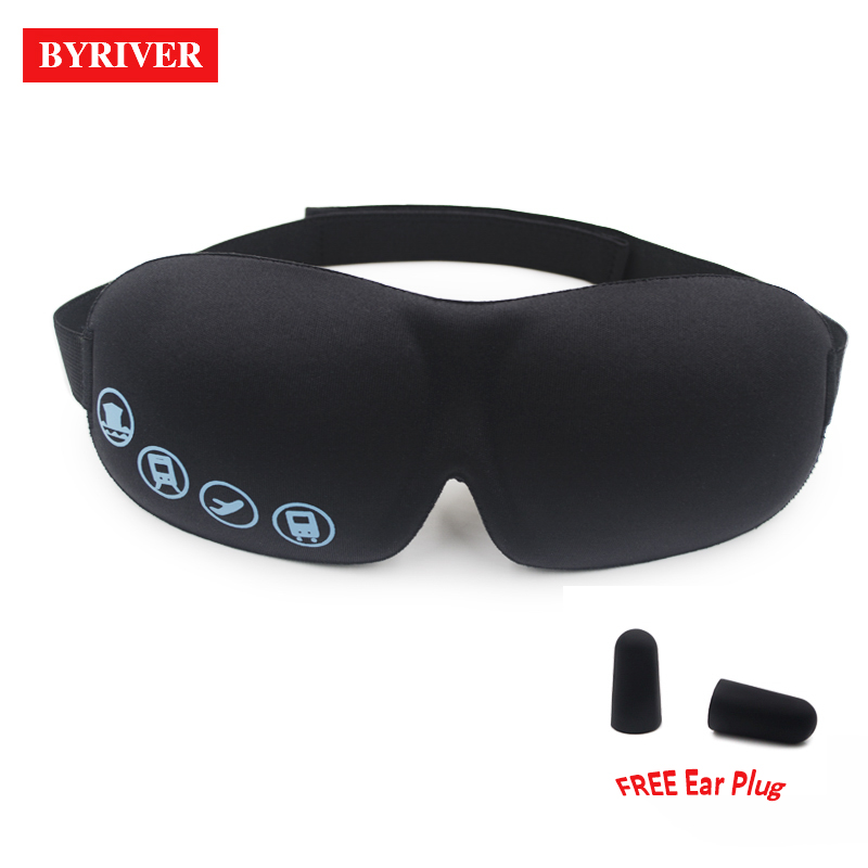 BYRIVER Sleeping Eye Mask, Travel Sleep Eye Shade Cover, 3D Memory Foam Nap Eye Patch Blindfolds Blinders, FREE Earplug