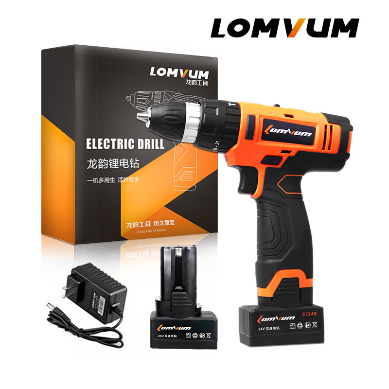 LOMVUM 12 16 24V Power Electric Tool Drill IMPACT Cordless Drills 2 Lithium Ion Battery Screw Rotary Tool DRILLING DRIVING in Electric Screwdrivers from Tools