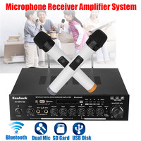 Wireless bluetooth Digital Amplifier 2 GH Karaoke Audio Power Stereo Amplifier Microphone Receiver System USB/SD Card Player