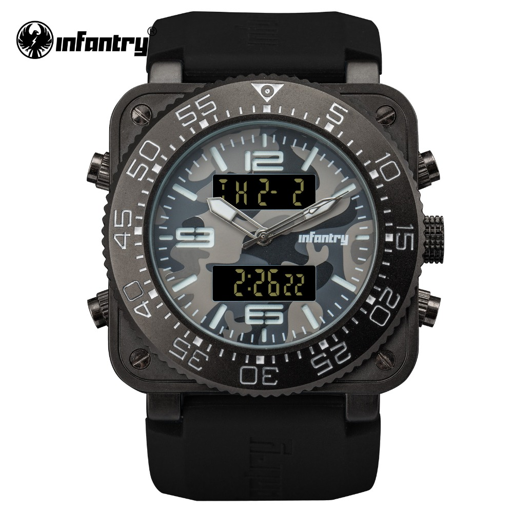 INFANTRY Military Watch Men Digital Quartz Wristwatch Mens Watches Top Brand Luxury Big Square Army Tactical Relogio Masculino infantry military watch men square digital led wristwatch mens watches top brand tactical army sport nylon relogio masculino