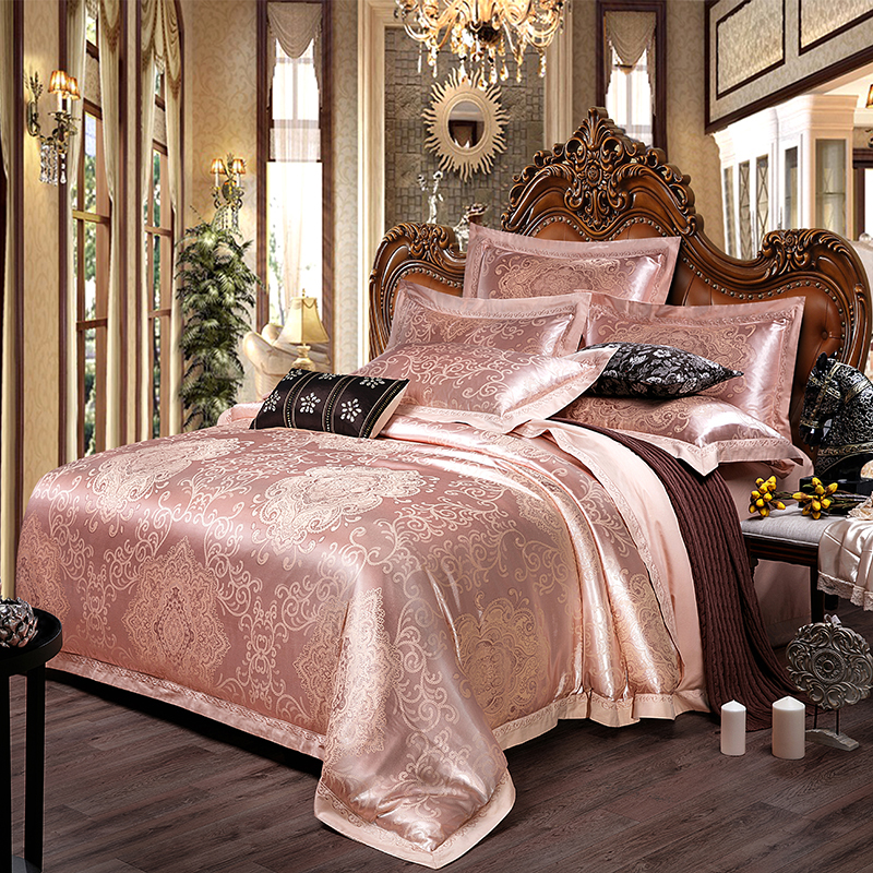 Modern Jacuqrd Bedding Sets Satin Cotton Embrodiery Bed Sheet Duvet Cover Pillow Cases for Home Wedding Sets 13 colors availableModern Jacuqrd Bedding Sets Satin Cotton Embrodiery Bed Sheet Duvet Cover Pillow Cases for Home Wedding Sets 13 colors available