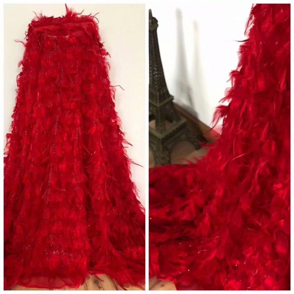 Роскошные 5 ярдов 3d цветок красный свадебные нигерийской свадьбы кружева блесток Тюль кружевная ткань с пером X636 2