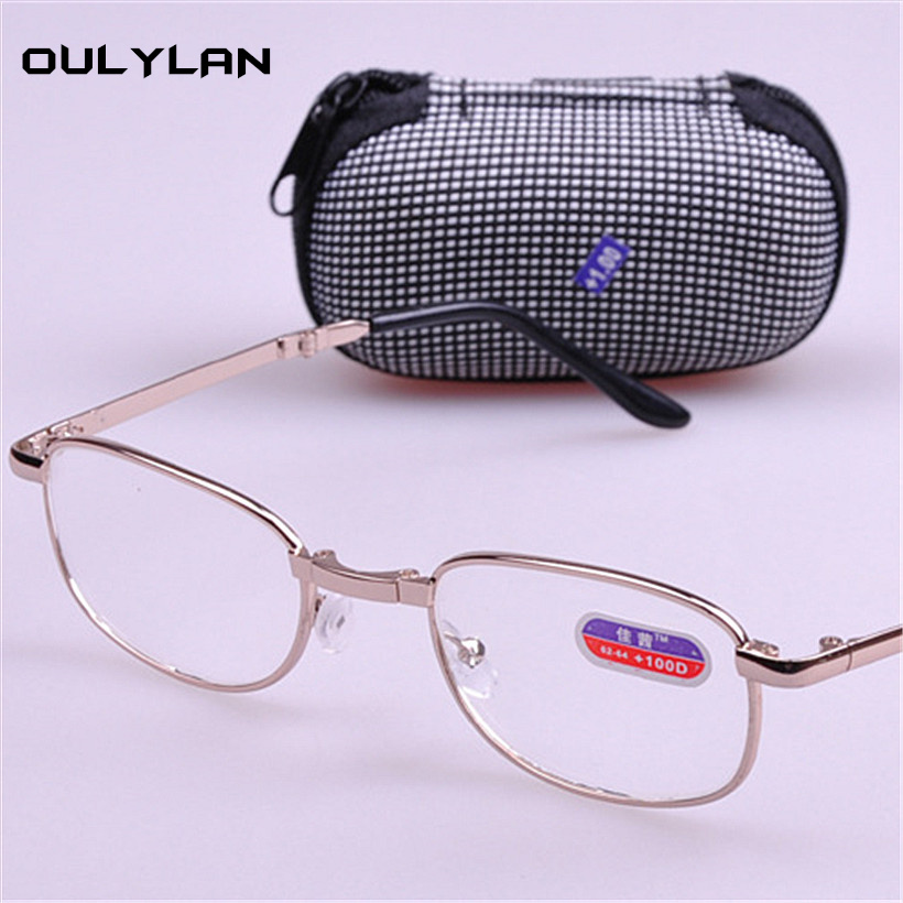 Oulylan Folding Reading Glasses Men Women Reading Glasses WITH BOX Foldable Presbyopia 1.0 1.5 2.0 2.5 3.0 3.5 4.0