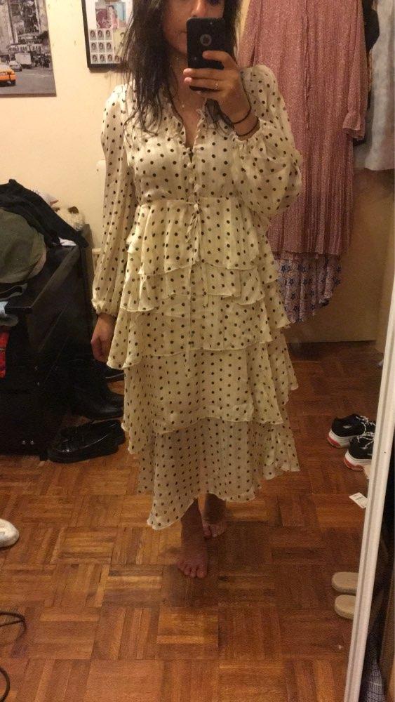 Vintage Sweet Polka Dot Print Ruffles Long Dress Women Fashion V Neck Long Sleeve Ladies Dresses Casual Vestidos Mujer photo review