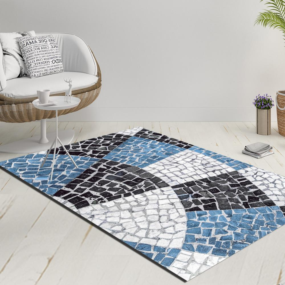 Else Blue Black White Mosaic Pebble Stone Decorative 3d Print Anti Slip Kilim Washable Decorative Kilim Rug Modern Carpet