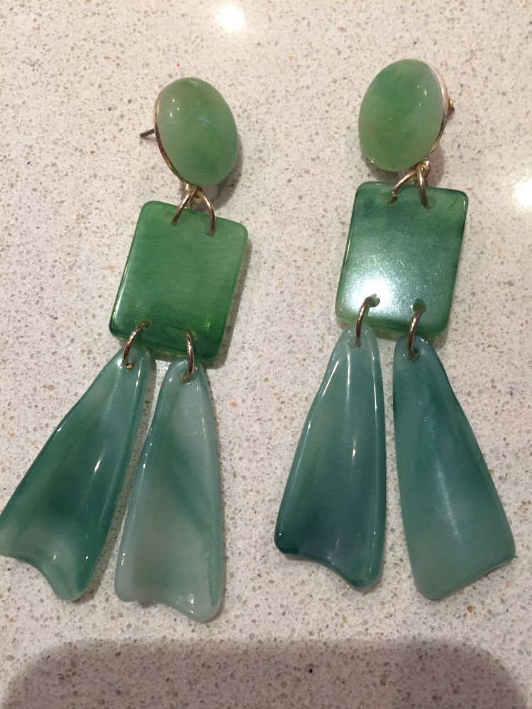 Green Acrylic Geometric Drop Earrings photo review