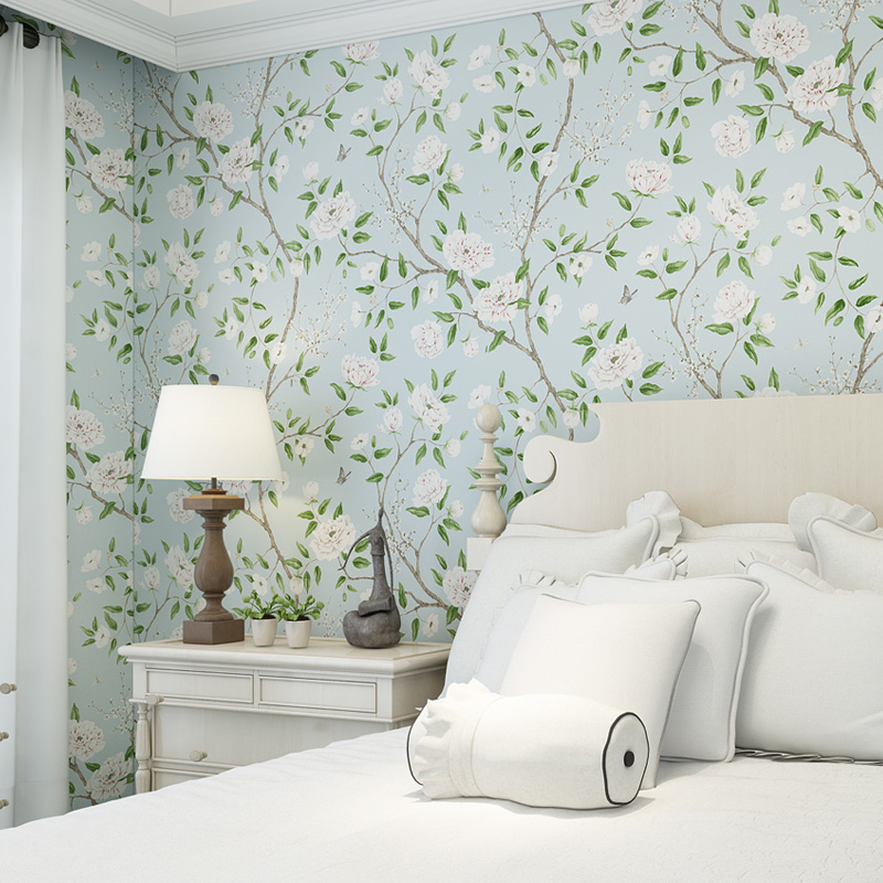 Fresh Light Blue Floral Wallpaper For Living Room