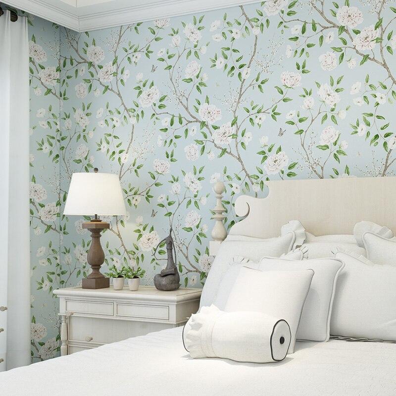 2019 hermoso Papel pintado de flores grandes fresco azul claro dormitorio Papel de pared sala de estar Floral papeles tapiz decoración del hogar QZ002|Papeles pintados|   - AliExpress