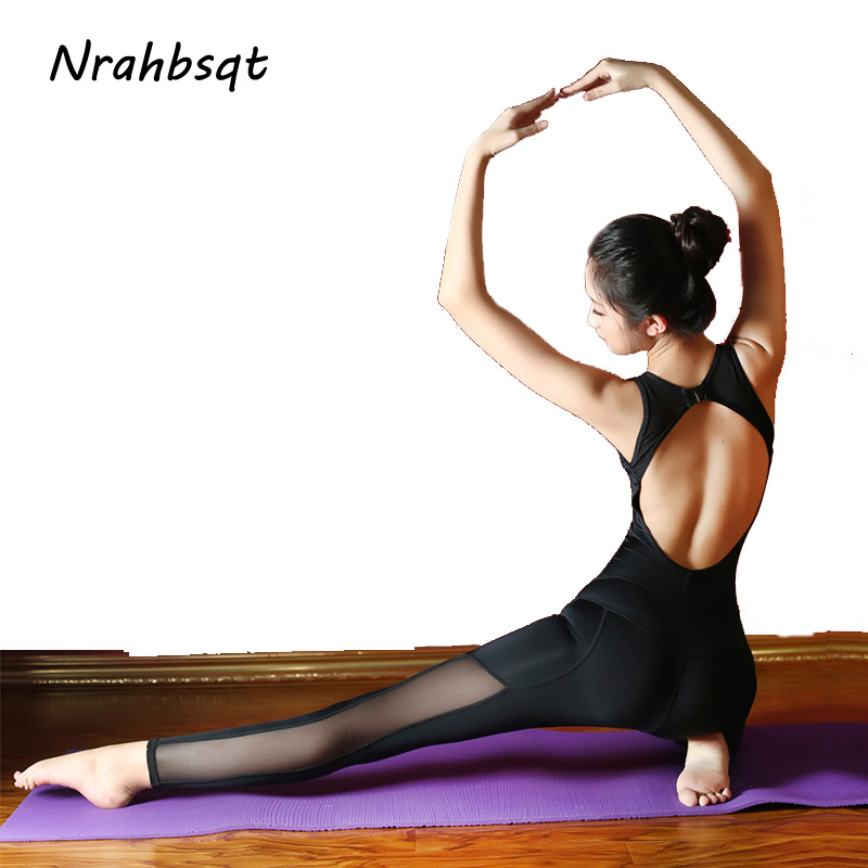 NRAHBSQT Mesh Patchwork Dance Yoga One Piece Jumpsuits Woman Sexy Backless Ballet Gym Wear For Women